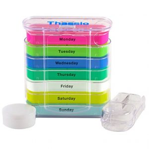 Pill organizer with pill splitter by time of day - gifts for older people