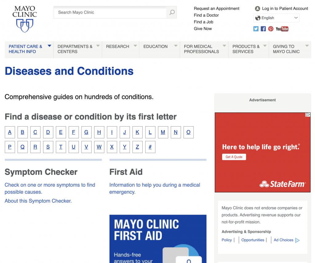 healthcare content marketing example - mayo clinic
