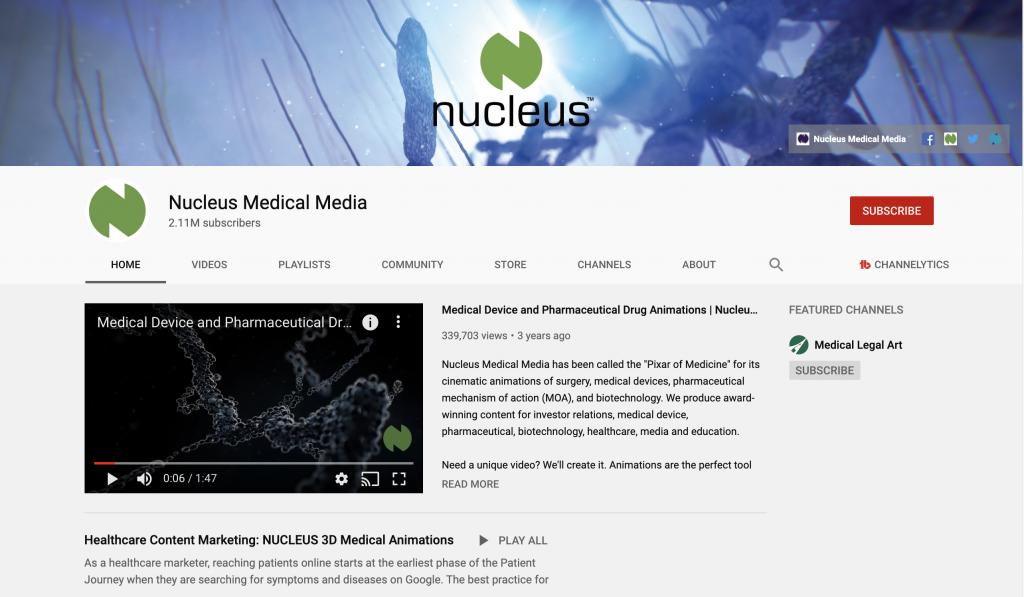 healthcare content marketing example - nucleus medical media